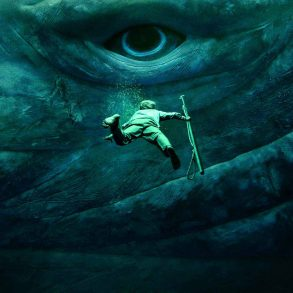 "En man dyker ner i havet i ""In the Heart of the Sea"" av Ron Howard"