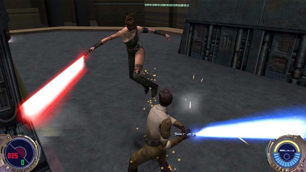 Två fäktas med varandra i Jedi Outcast.